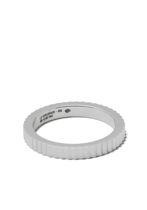 Le Gramme 18kt Red Gold 5g Vertical Guilloche Ring - WHITE GOLD