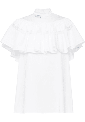 Prada ruffle-panel lace-trim blouse - White