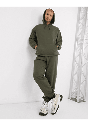 ASOS DESIGN tracksuit oversized hoodie / relaxed joggers in khaki-Green