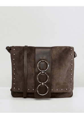 ASOS DESIGN leather and suede ring cross body bag-Brown