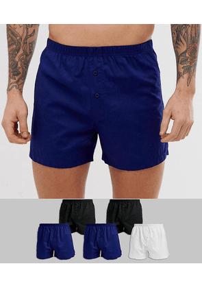 ASOS DESIGN 5 pack woven boxers in black white & navy save-Multi