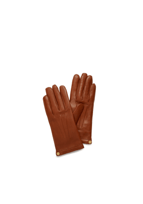 Mulberry Soft Nappa Leather Gloves in Cognac Nappa Leather