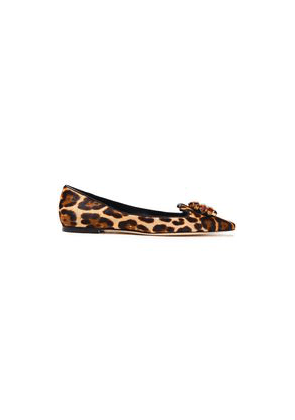 Dolce & Gabbana Bellucci Crystal-embellished Leopard-print Calf Hair Point-toe Flats Woman Animal print Size 36
