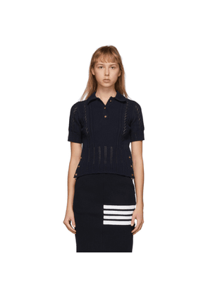 Thom Browne Navy Open Stitch Polo