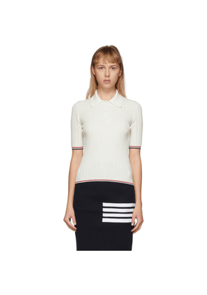 Thom Browne White Pointelle Polo