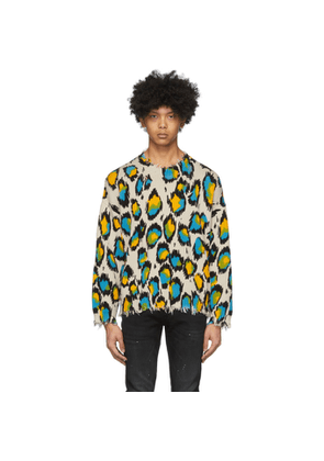 R13 Off-White and Multicolor Oversized Leopard Sweater