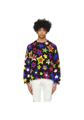 R13 Black and Multicolor Oversized Stars Sweater