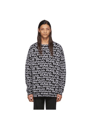 Balenciaga Black and White Balenciaga Paris Sweatshirt