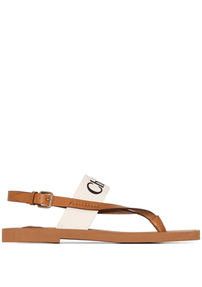 Chloé logo-print sandals - Brown