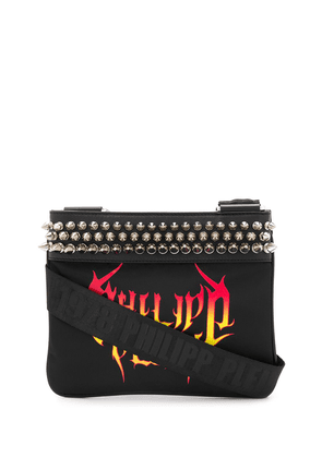 Philipp Plein flame logo print studded shoulder bag - Black