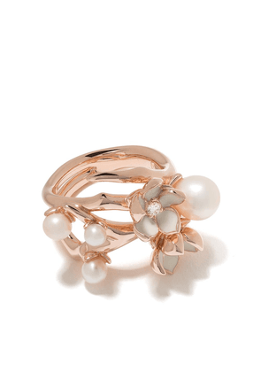 Shaun Leane Cherry Blossom diamond and pearl flower ring - ROSE GOLD