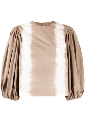 MSGM pouf sleeve tie-dye blouse - Brown