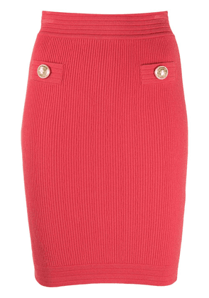 Balmain stretch rib knit pencil skirt - PINK