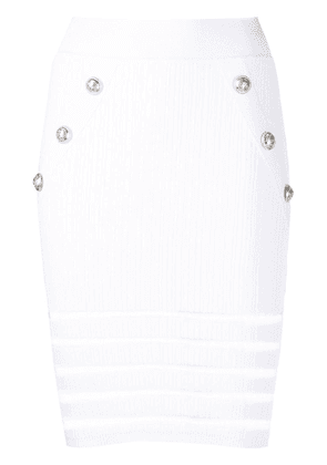 Balmain ribbed knit button detail skirt - White