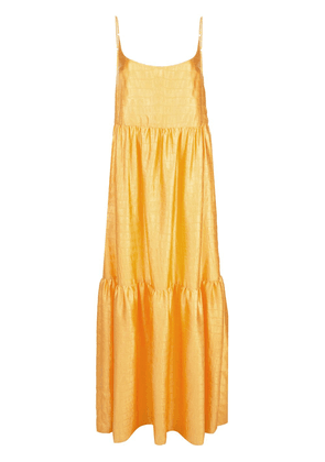 Sies Marjan Brianna crocodile-embossed satin maxi dress - Yellow