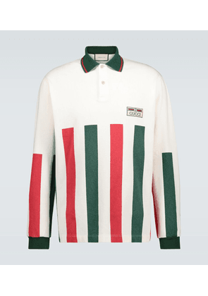 Web striped long-sleeved polo shirt