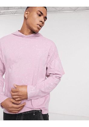 ASOS DESIGN oversized hooded t-shirt with double layer sleeve in lilac acid wash-Purple