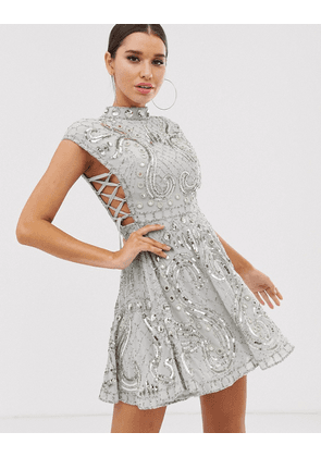 ASOS DESIGN cut out side lace up embellished mini skater dress-Grey