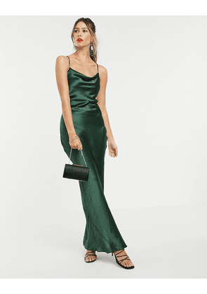 ASOS DESIGN cami maxi slip dress in high shine in satin with lace up back-Green