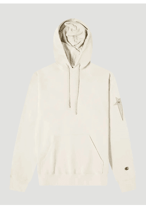 Rick Owens X Champion Embroidered-Logo Hooded Sweatshirt in Cream size S