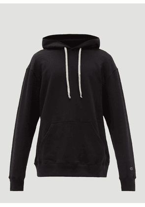 Rick Owens X Champion Embroidered-Logo Hooded Sweatshirt in Black size S