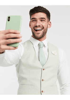 ASOS DESIGN wedding skinny suit waistcoat in stretch cotton linen in mint houndstooth-Green