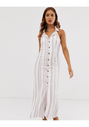 ASOS DESIGN sleeveless stripe maxi shirt dress-Multi
