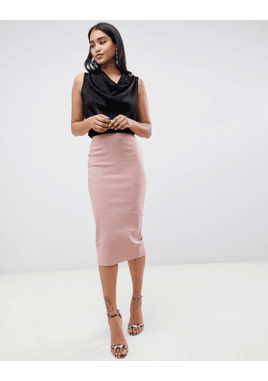 ASOS DESIGN high waist longerline pencil skirt-Pink