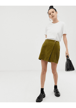 ASOS DESIGN mini skirt with wrap in cord-Green