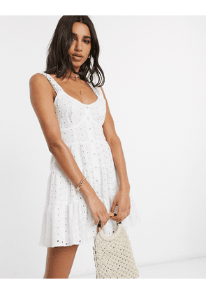 ASOS DESIGN broderie button through tiered mini sundress in white