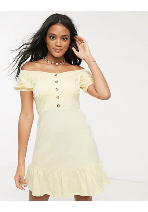 ASOS DESIGN cupped off the shoulder tiered mini dress in lemon-Yellow