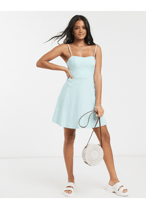 ASOS DESIGN mini square neck sundress with cup seams in mint-Green