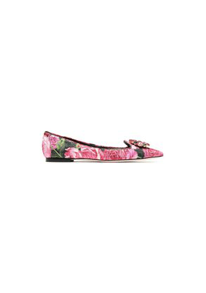 Dolce & Gabbana Crystal-embellished Floral-print Brocade Point-toe Flats Woman Pink Size 37.5