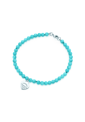 Return to Tiffany® mini heart tag in silver on an amazonite bead bracelet - Size Small