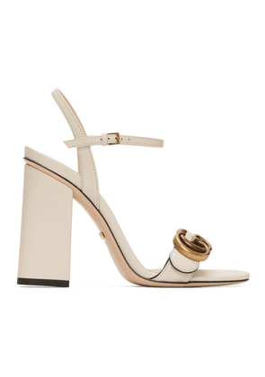 Gucci White GG Marmont Heeled Sandals