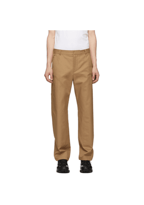 Burberry Tan Cotton Twill Tailored Trousers