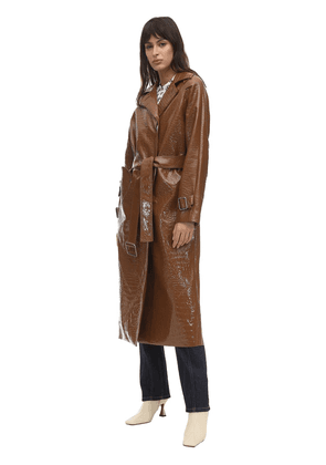 Croc Faux Patent Leather Trench Coat