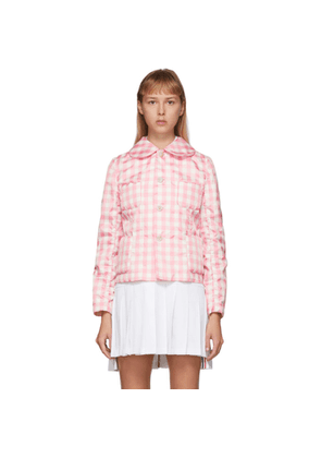 Comme des Garcons Girl Pink and White Check Peter Pan Collar Jacket