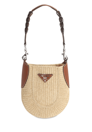 Md Hobo Raffia & Leather Shoulder Bag