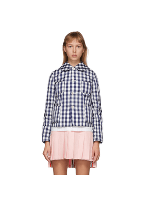 Comme des Garcons Girl Navy and White Check Peter Pan Collar Jacket