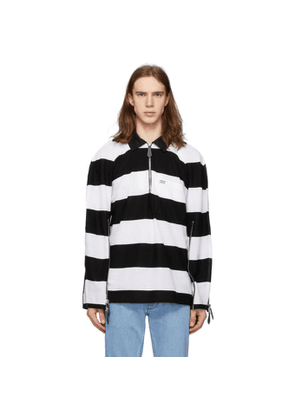 Burberry Black and White Striped Zip Detail Polo