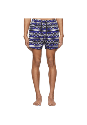 Neil Barrett Blue Primitive Art Stripes Swim Shorts