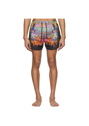 Neil Barrett Multicolor Art Collage Swim Shorts