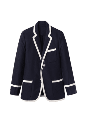Navy Wool Flannel Blazer with Cream Grosgrain Trim