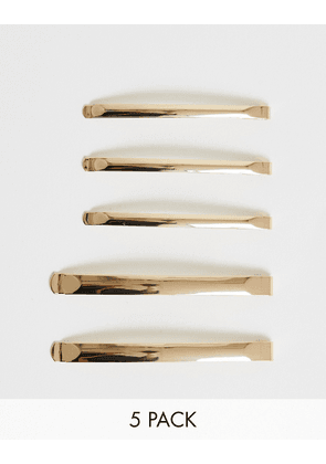 ASOS DESIGN pack of 5 thin hair clips in mixed sizes in gold tone