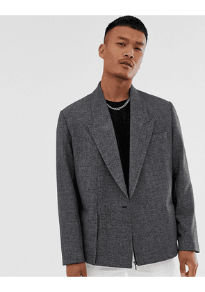 ASOS DESIGN boxy oversized cropped double breasted blazer in charcoal with zip-Grey