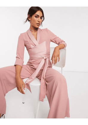 ASOS DESIGN plunge tux jumpsuit with wide leg in blush-Pink