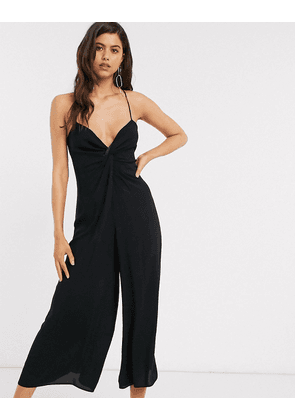 ASOS DESIGN twist front cami jumpsuit with wide leg in black-Pink