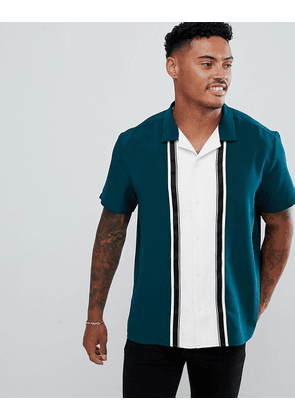 ASOS DESIGN oversized cut & sew shirt in green with taping