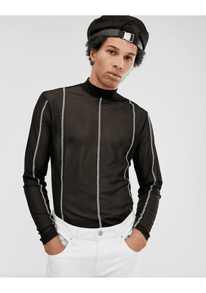 ASOS DESIGN long sleeve t-shirt with turtle neck in mesh with contrast stitching-Black